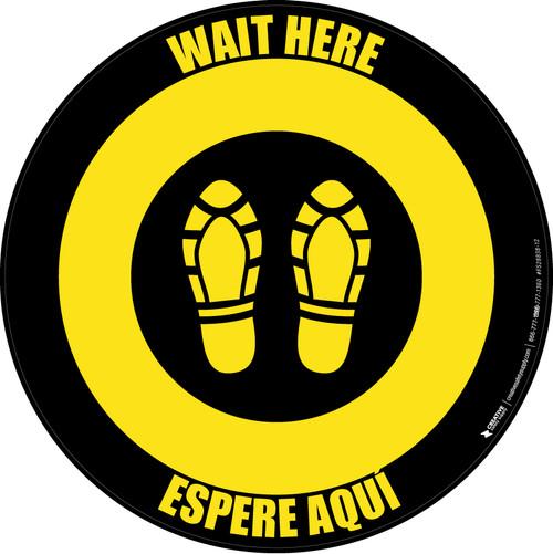 Wait Here Espere Aqui Shoe Prints Bilingual Black/Yellow Circular - Floor Sign