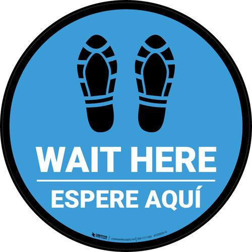 Wait Here Espere Aqui Shoe Prints Bilingual Blue Circular - Floor Sign