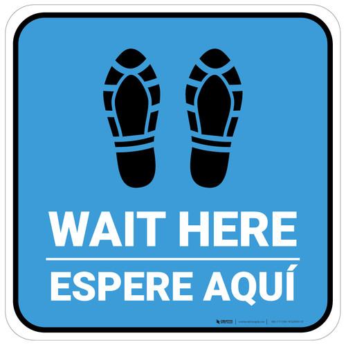 Wait Here Espere Aqui Shoe Prints Bilingual Blue Square - Floor Sign