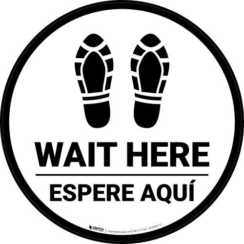 Wait Here Espere Aqui Shoe Prints Bilingual Circular - Floor Sign
