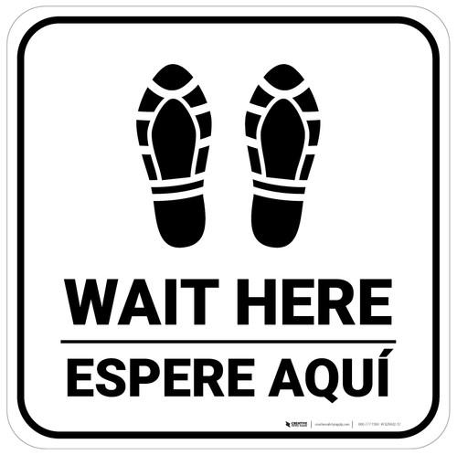 Wait Here Espere Aqui Shoe Prints Bilingual Square - Floor Sign