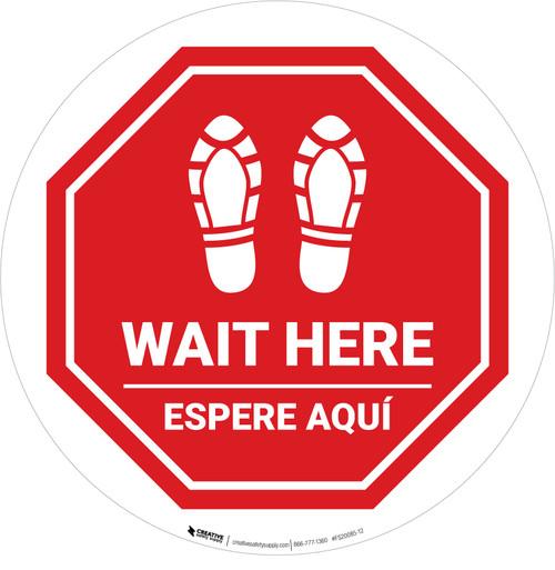 Wait Here Espere Aqui Shoe Prints Bilingual Stop Circular - Floor Sign