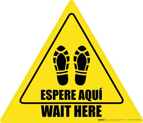 Wait Here Espere Aqui Shoe Prints Bilingual Triangle - Floor Sign
