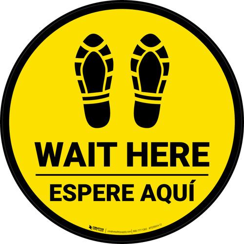 Wait Here Espere Aqui Shoe Prints Bilingual Yellow Circular - Floor Sign