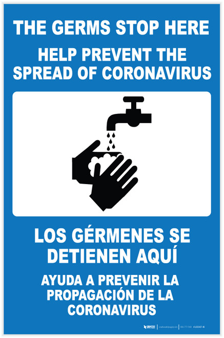 The Germs Stop Here with Icon Spanish Bilingual Portrait - Label
