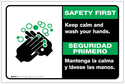 Safety First: Keep Calm and Wash Your Hands Bilingual with Icon Landscape - Label
