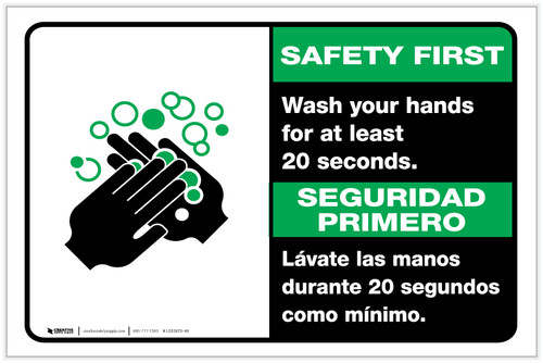 Safety First: Wash Your Hands For At Least 20 Seconds Bilingual with Icon Landscape - Label