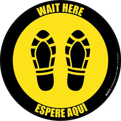 Wait Here Espere Aqui Shoe Prints Yellow Black Border Circular - Floor Sign