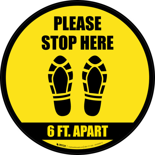 Please Stop Here 6 Ft Apart Shoe Prints Black Border Circular - Floor Sign