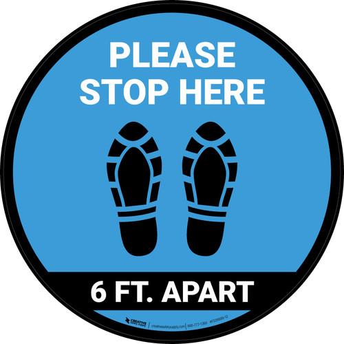 Please Stop Here 6 Ft Apart Shoe Prints Blue Circular - Floor Sign