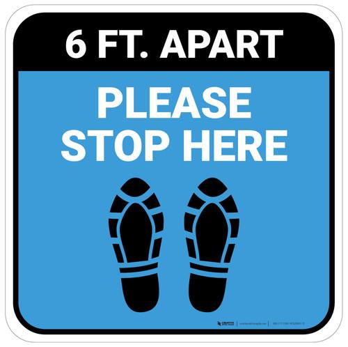 Please Stop Here 6 Ft Apart Shoe Prints Blue Square - Floor Sign