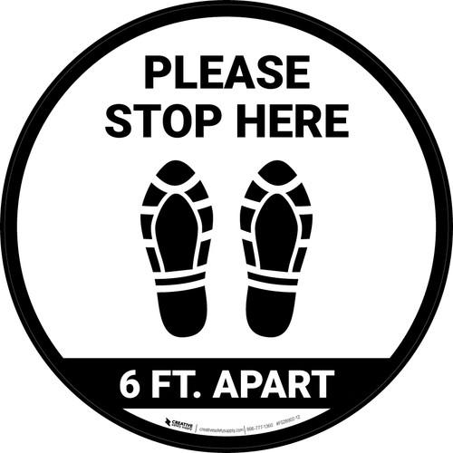 Please Stop Here 6 Ft Apart Shoe Prints Circular - Floor Sign