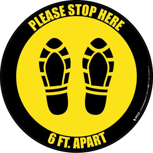Please Stop Here 6 Ft Apart Shoe Prints Yellow Black Border Circular - Floor Sign