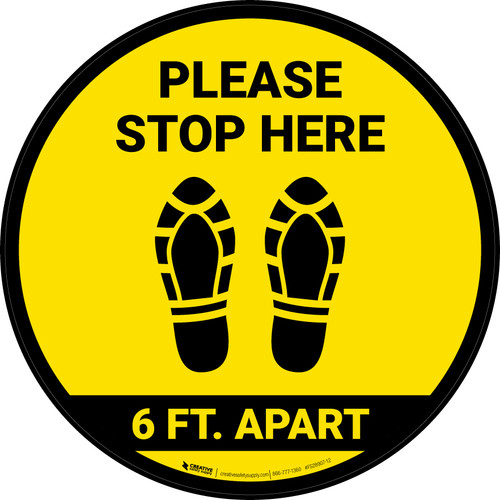 Please Stop Here 6 Ft Apart Shoe Prints Yellow Circular - Floor Sign