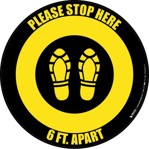 Please Stop Here 6 Ft Apart Shoe Prints Yellow/Black Circular - Floor Sign