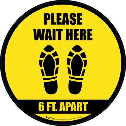Please Wait Here 6 Ft Apart Shoe Prints Black Border Circular - Floor Sign