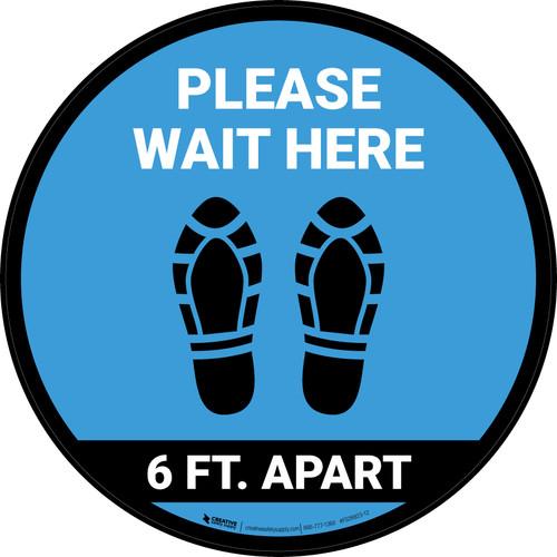 Please Wait Here 6 Ft Apart Shoe Prints Blue Circular - Floor Sign
