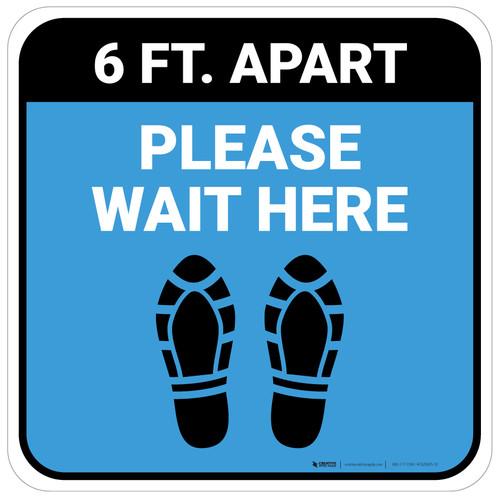 Please Wait Here 6 Ft Apart Shoe Prints Blue Square - Floor Sign