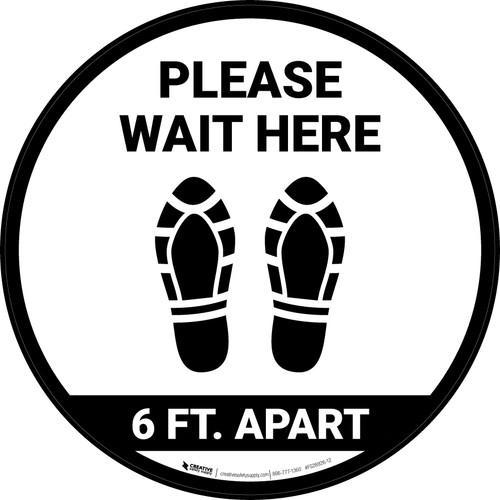 Please Wait Here 6 Ft Apart Shoe Prints Circular - Floor Sign