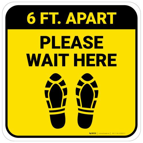 Please Wait Here 6 Ft Apart Shoe Prints Yellow Square - Floor Sign