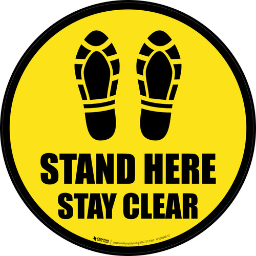 Stand Here Stay Clear Shoe Prints Black Border Circular - Floor Sign