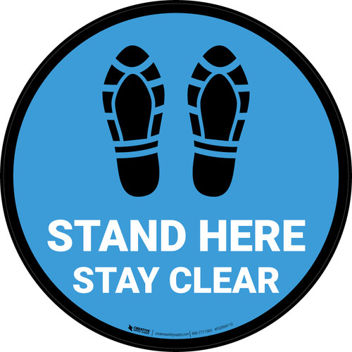 Stand Here Stay Clear Shoe Prints Blue Circular - Floor Sign