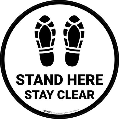Stand Here Stay Clear Shoe Prints Circular - Floor Sign