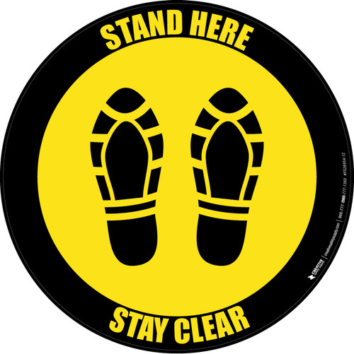 Stand Here Stay Clear Shoe Prints Yellow Black Border Circular - Floor Sign