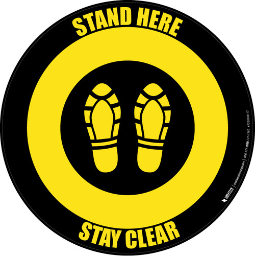 Stand Here Stay Clear Shoe Prints Yellow/Black Circular - Floor Sign