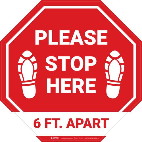 Please Stop Here 6 Ft Apart Shoe Prints Stop - Floor Sign