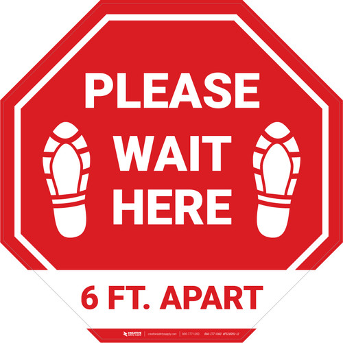 Please Wait Here 6 Ft. Apart Shoe Prints Stop - Floor Sign