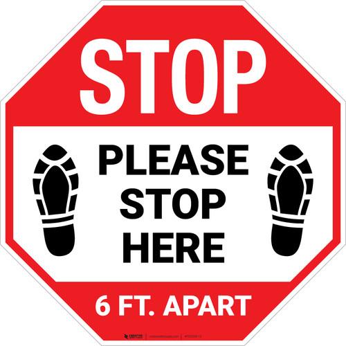 STOP Please Stop Here 6 Ft Apart Shoe Prints Stop - Floor Sign