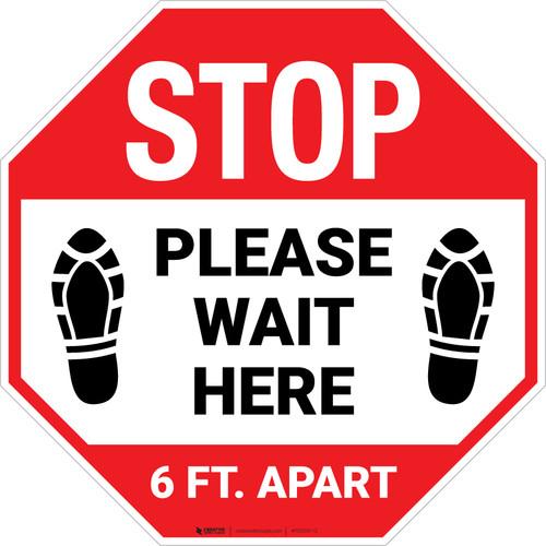STOP Please Wait Here 6 Ft. Apart Shoe Prints Stop - Floor Sign