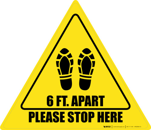 Please Stop Here 6 Ft Apart Shoe Prints Triangle - Floor Sign