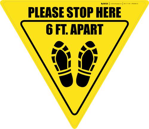 Please Stop Here 6 Ft Apart Shoe Prints Yield - Floor Sign