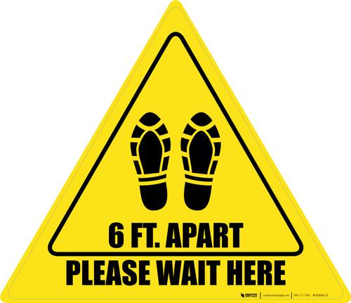Please Wait Here 6 Ft. Apart Shoe Prints Triangle - Floor Sign