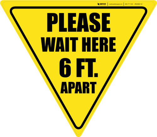 Please Wait Here 6 Ft. Apart Yield - Floor Sign