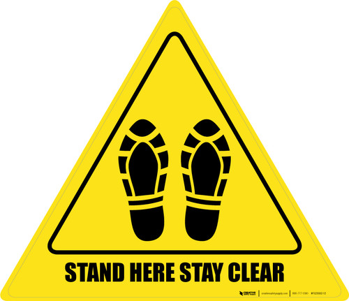 Stand Here Stay Clear Shoe Prints Triangle - Floor Sign