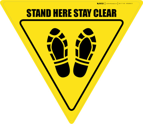 Stand Here Stay Clear Shoe Prints Yield - Floor Sign