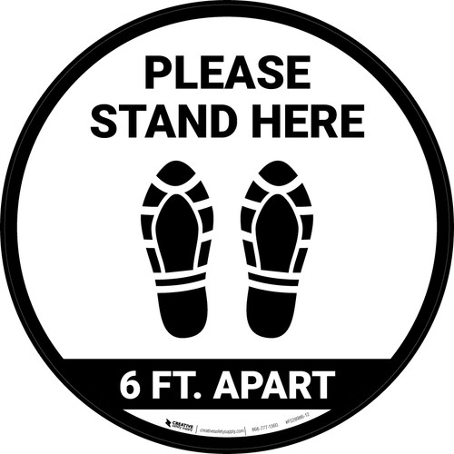 Please Stand Here 6 Ft. Apart Shoe Prints Circular - Floor Sign