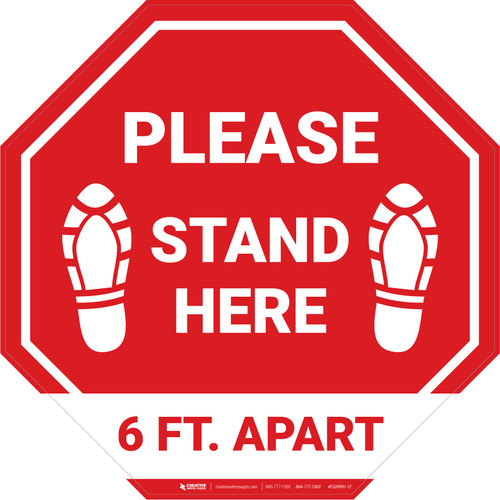 Please Stand Here 6 Ft. Apart Shoe Prints STOP - Floor Sign