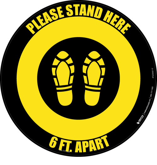 Please Stand Here 6 Ft. Apart Shoe Prints Yellow/Black Circular - Floor Sign