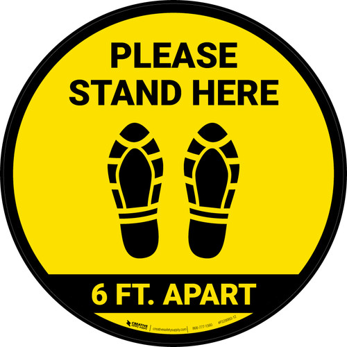 Please Stand Here 6 Ft. Apart Shoe Prints Yellow Circular - Floor Sign