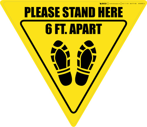 Please Stand Here 6 Ft. Apart Shoe Prints Yield - Floor Sign