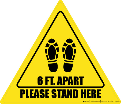 Please Stand Here 6 Ft. Apart Shoe Prints Triangle - Floor Sign