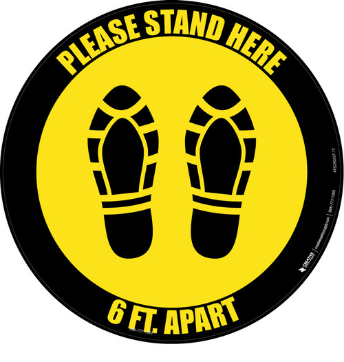 Please Stand Here 6 Ft. Apart Shoe Prints Yellow Black Border Circular - Floor Sign