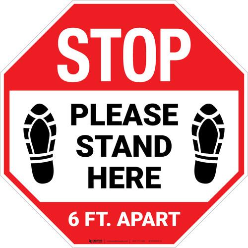 STOP: Please Stand Here 6 Ft. Apart Shoe Prints Stop - Floor Sign