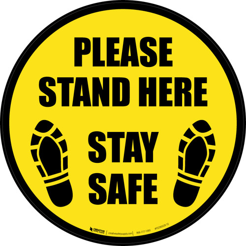 Please Stand Here Stay Safe Shoe Prints Black Border Circular - Floor Sign