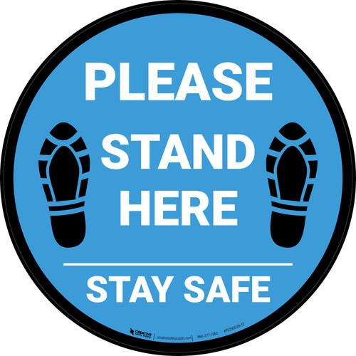 Please Stand Here Stay Safe Shoe Prints Blue Circular - Floor Sign