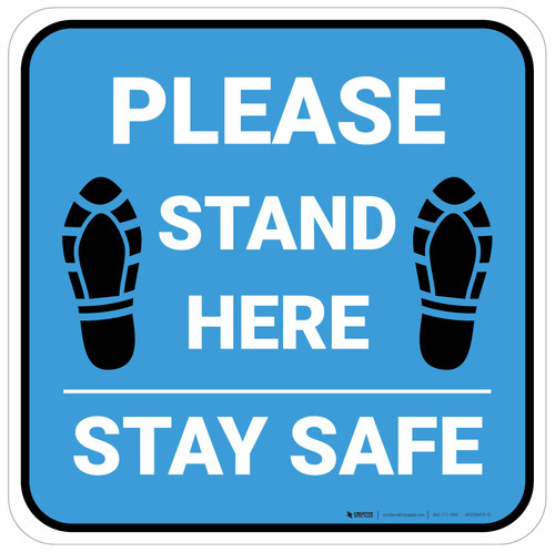 Please Stand Here Stay Safe Shoe Prints Blue Square - Floor Sign